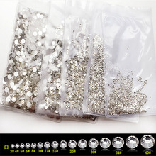 1 Bag AB Nail Rhinestones Mix Sizes SS3-SS12 1440 pcs Art Decoration Flatback Glass Stones Shiny Gems DIY