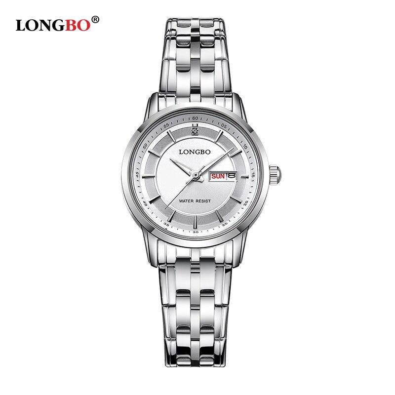 LONGBO Luxury Brand 2020 Leisure Couple Watch Fashion Quartz Wristwatches Stainless Steel Date Calendar Waterproof Men 80146