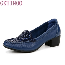 2017 Spring New High Heels Women Genuine Leather Work Shoes Woman Thick Heels Rhinestone Pumps Casual Women Shoes