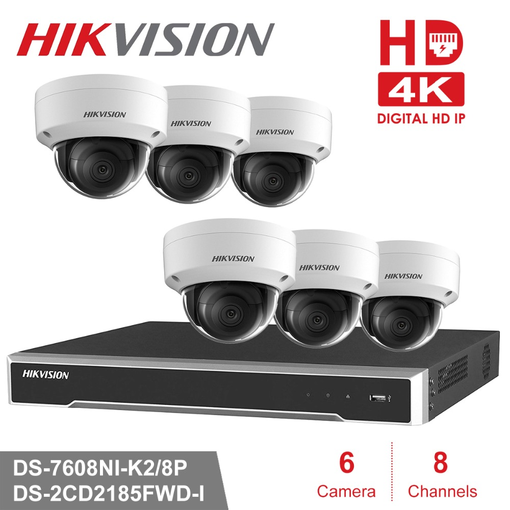 Hikvision 8CH CCTV Surveillance Kit 8MP Security Camera System 8CH POE NVR 4K Output 8Pcs 8MP POE IP Camera Waterproof CCTV Set