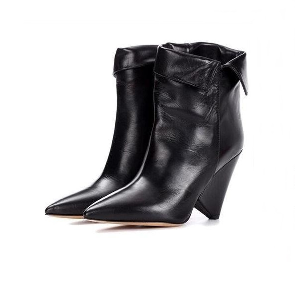 Sexy Black Leather Boots Women Pointed Toe Cone Heels Fold Over Woman Winter Shoes 2018 High Quality Wedge Ankle Boots Plus 42Sexy Black Leather Boots Women Pointed Toe Cone Heels Fold Over Woman Winter Shoes 2018 High Quality Wedge Ankle Boots Plus 42