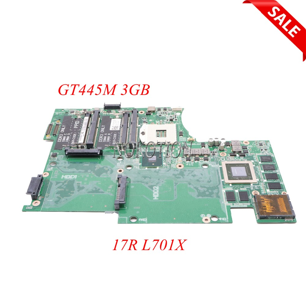 NOKOTION Laptop Motherboard For Dell Studio XPS 17R L701X CN-053JR7 053JR7 HM57 DDR3 GT445M 3GB Support I7 Main Board work original usb ethernet hdmi board for dell xps one 2710 09r92h 9r92h cn 09r92h 100