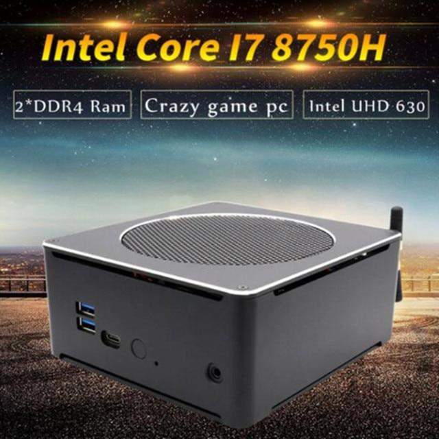 Eglobal Новый 8th Gen мини-ПК Intel i7 8750 H 6 Core 12 потоков 2 * DDR4 2 * M.2 настольный компьютер Win10 Pro Linux переменного тока WiFi Mini DP HD-MI