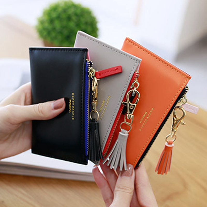 Tassel Coin purse card Holder money bags women fashion wallet female European and American candy-colored purses in the pocket