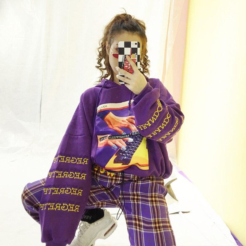 Daim Tops Z291 Hoodies Femmes Style Fashoin Black Shirts Broderie Lettre Imprimer Taille Femelle Manches orange Automne Street Longues Plus violet La Lâche TqUw55