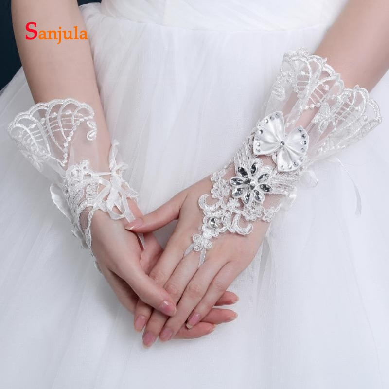 Pearls Beaded White Bridal Lace Wrist Gloves Fingerless Rings Back Lace Up Wedding Gloves Robe Mariage Femme Blanche G36 Bridal Gloves