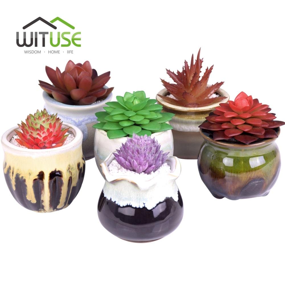 6x Flowers Gardening Succulents Planter Pot Ceramic Flowerpot Lovely Glazed Ceramic Bonsai Cactus Planter Succulent Flower Pot