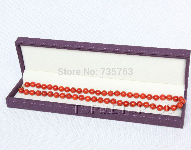 xiuli 0014896 8.5mm perfect round red coral necklace 14KGPxiuli 0014896 8.5mm perfect round red coral necklace 14KGP