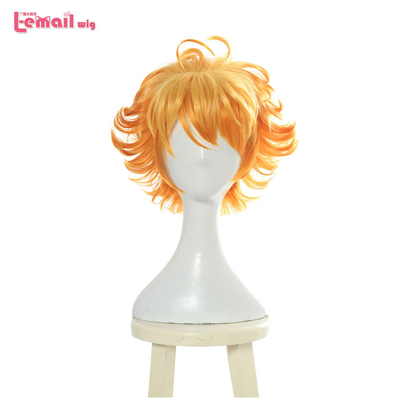 L-email wig New Yakusoku no Neverland 63194 Emma Cosplay Wigs 30cm Short Heat Resistant Synthetic Hair Perucas Cosplay Wig