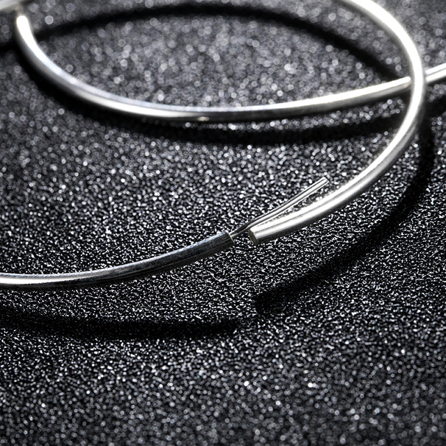 LARGERLOF Earrings Silver 925 Women Silver Hoop Earrings Large Size Silver 925 Jewelry Round Earrings EH35026