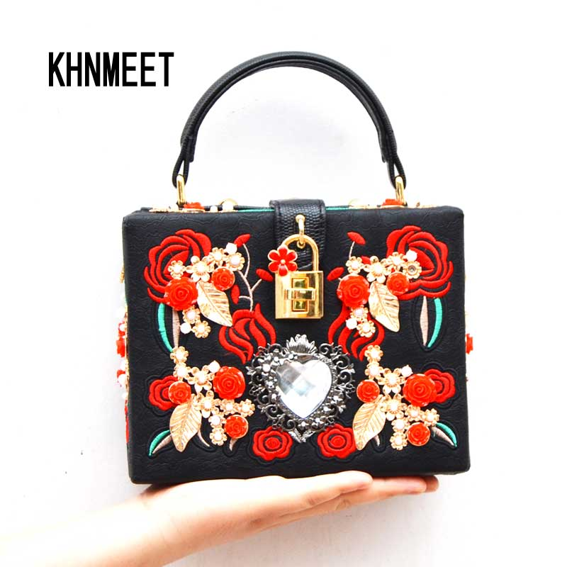 Fashion heart diamond pearl rose embroidery designer party purse ladies shoulder bag Clutch Evening bag Mini Tote handbags 8120 fashion box evening bag oil painting flower black lock clutch bag strap mini tote bag ladies purse trunk white women handbags