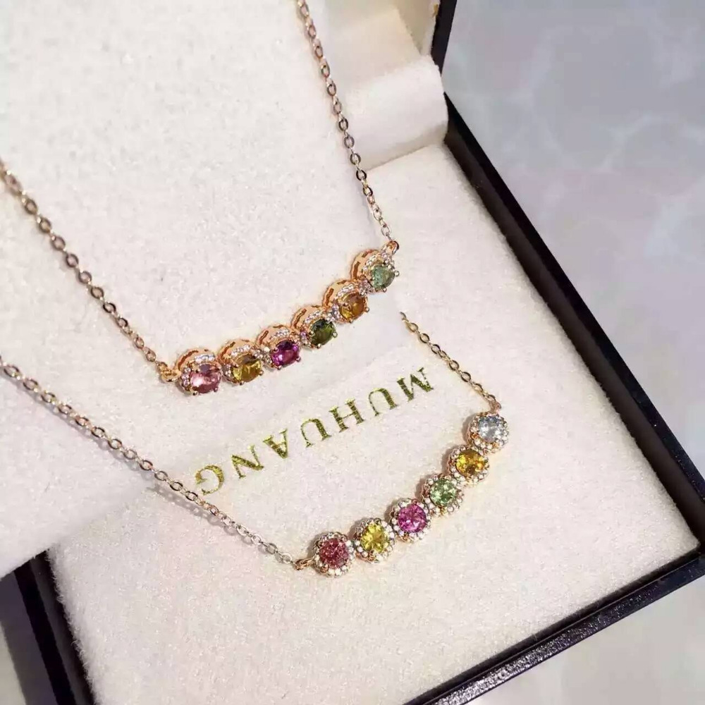 цена Natural multicolor tourmaline Necklace natural gemstone Pendant Necklace S925 silver trendy Circular bubble array women Jewelry