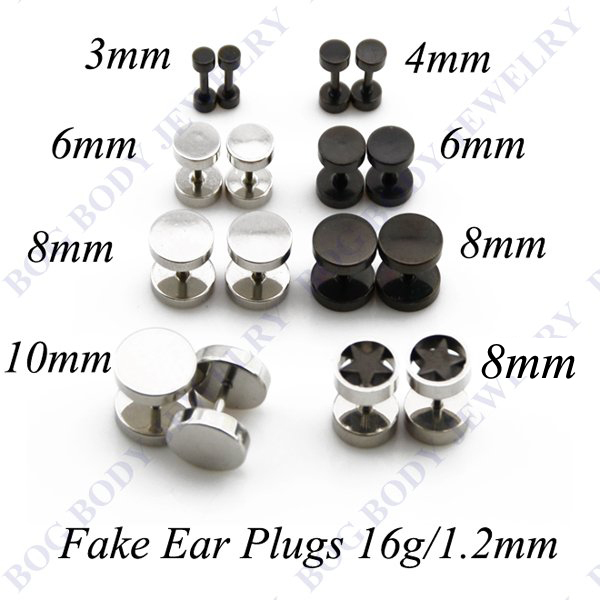 Mix Size 16pcs Stainless Steel And Anodized Black Ear Studs Earrings Cheater Faux Fake