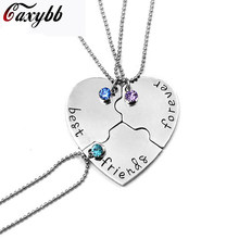 "Caxybb New 3 pcs / set ""Best Friend Forever"" Friend BFF Necklace 3 Piece Set Heart Shape Puzzle Hand Stamped Friendship ZM-23(China)"