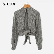 60f96bb2e379 SHEIN Grey Highstreet Open Back Knot Detail Crop Marled Knit Long Sleeve  Solid Jumper 2018 Autumn Casual Women Pullovers Sweater