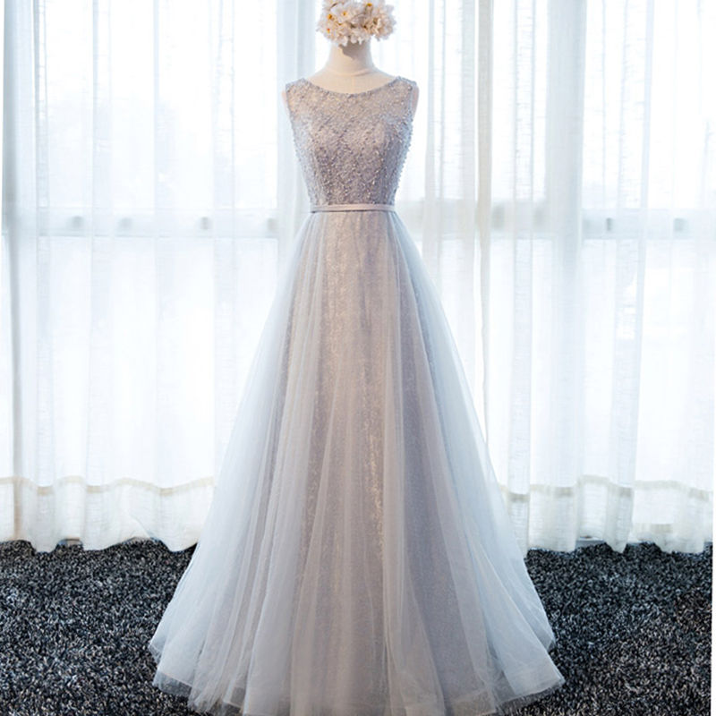 Luxury Pearls A-line   Bridesmaid     Dresses   2018 Sexy Illusion Backless Lace Up Floor Length Party Gowns Robe De Soiree Prom   Dress
