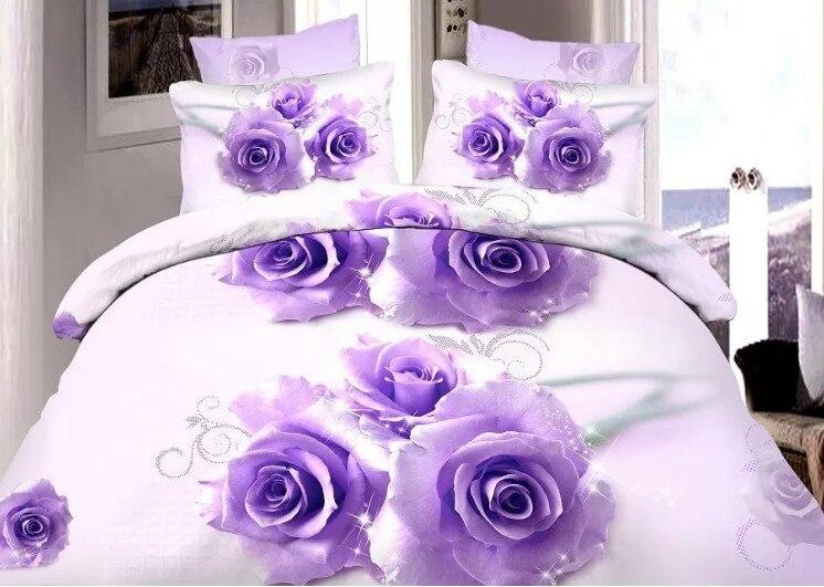 Roses department store 3D Purple Rose Comforter Bedding sets quilt duvet cover bed sheet linen bedspread Queen size 5PCS