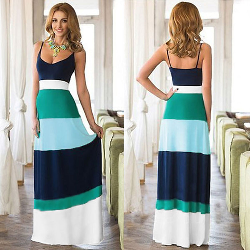 Summer Dress 2016 Sexy Women Boho Long Maxi Dress Color-Matching Waisted evening party Dresses bodycon Plus Size Women Clothing