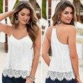 Branco Camisa Sem Mangas Colete Tanque verão Encabeça Mulheres Casuais Solta T-shirt Do Laço Borla Camisetas Mujer Femme TONSEE