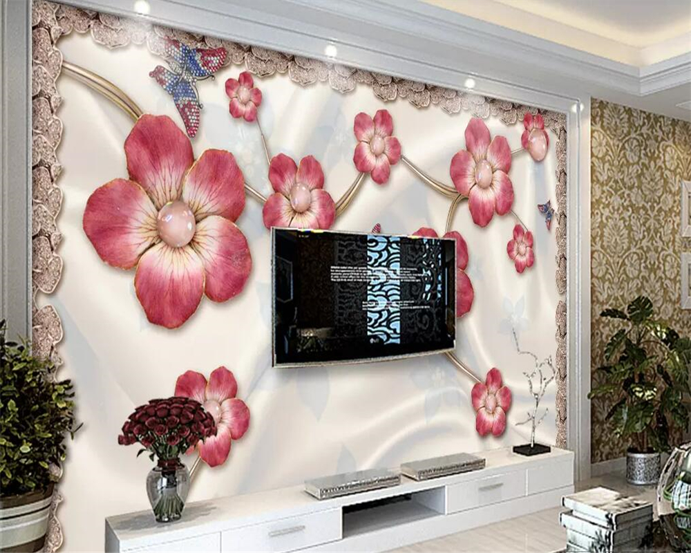 beibehang Custom wallpapers, elegant flowers, gemstones, living room TV background wall, home decoration bedroom 3d wallpaper