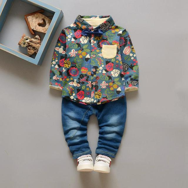 Fashion Print Shirt + Jeans 2016 Children Clothing Sets For Spring&Autumn Baby Boy Casual Suit Boys Clothes Cool Costumes