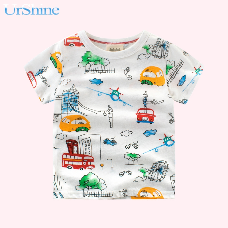 Boys Tshirts Short Sleeve Cotton Baby Girl Summer Clothes Girls Tops Animated Shirts Kids 2018 Funny Children Clothing