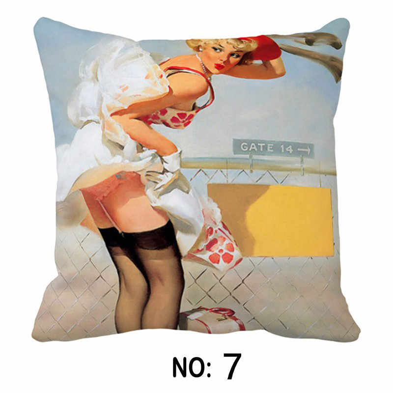 Vintage Retro Lady Pinup Gadis Poster Cetak Kanvas Mobil Dekoratif Melempar Sarung Bantal Bantal Case Cushion Penutup Sofa Dekorasi Rumah