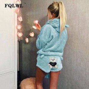 Image 4 - Fqlwl conjunto de duas peças pijamas mulher pijamas flanela kigurumi gato quente pijamas de inverno feminino para pijamas casa terno