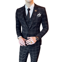 ( Jacket + Vest + Pants ) Mens Fashion Plaid Boutique Formal Business Suit Men Groom Wedding Dress Suit Mens Suits Three Set