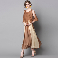 imported clothing 2017 summer casual fried tian silk fake two pieces long dress chiffon floral maxi Sexy dress SZWL1707212
