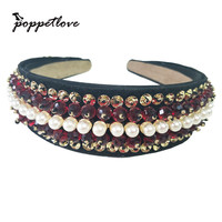Design Crystal Crown Tiara Handmade Wedding Hair Accessories Bride Red Wine Wide Side Full Pearl Elegant