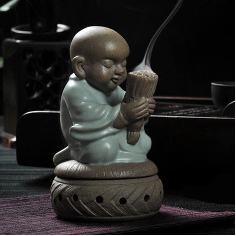 Ceramic burner incense base monk Buddha statues sandalwood coil home decor statue figurine buddha wishing candle furnace base
