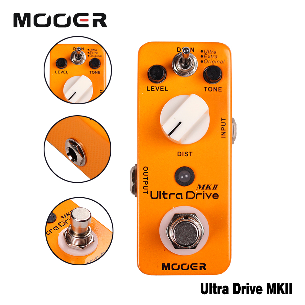 Mooer Full Metal Shell Ultra Drive MKII Distortion Guitar Effect Pedal With Original/Extra/Ultra 3 Working Modes True Bypass nux metal core distortion stomp boxes electric guitar bass dsp effect pedal 2 metal hardcore sound true bypass