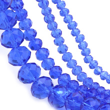 OlingArt 3/4/6/8/10mm Round Glass Beads Rondelle Austria faceted crystal Medium blue color beads Loose bead DIY Jewelry Making 4x6mm size dark blue glass crystal copper chains faceted rondelle beads gems link brass wire wrapped rosary chain 5meters