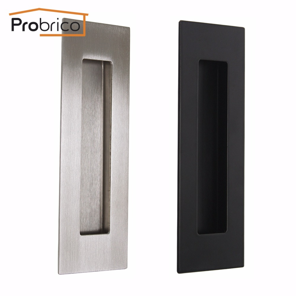 Probrico Square Recessed Siding Door Handlle 304 Stainless Steel Black Kitchen Furniture Finger Pull Cabinet Knob probrico square recessed siding door handlle 304 stainless steel black kitchen furniture finger pull cabinet knob
