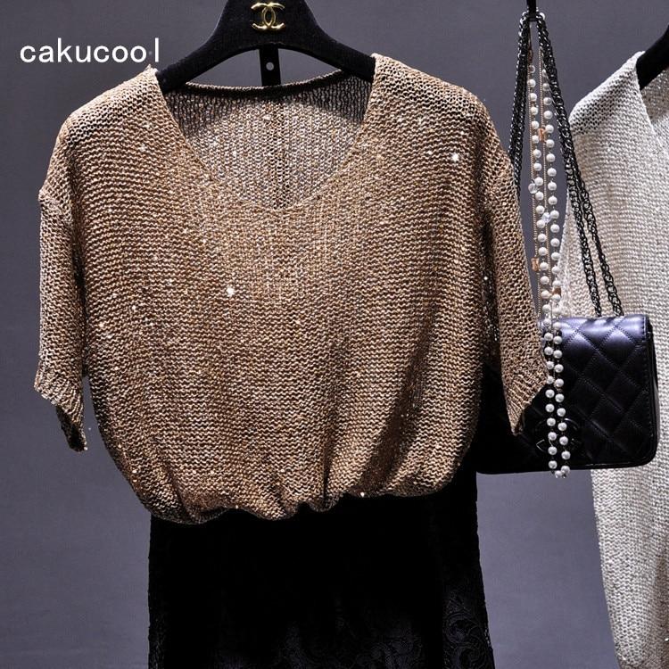 Женская футболка с блестками Cakucool, вязаная футболка с коротким рукавом и круглым вырезом, базовый топ с золотым люрексом, Корейская Свободн...