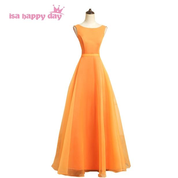 Robe de bal longue nouvelle 2019 dames formelle sans manches orange robes de soirée élégante robe débuts spécial occassion robes H4121