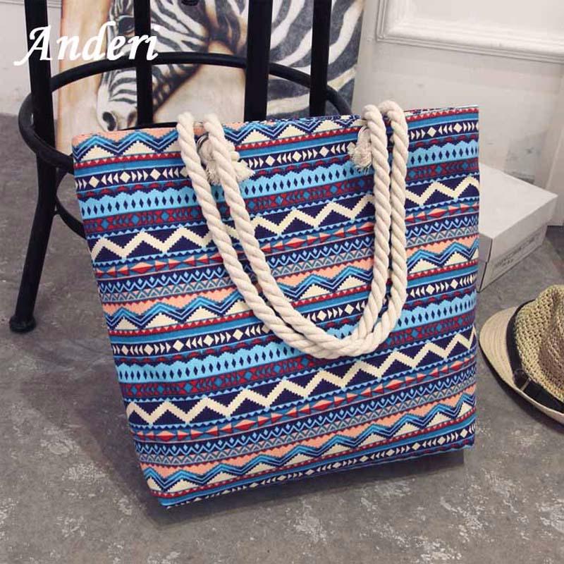 Anderi Floral-Messenger-Bags Strip Big-Bag Canvas Casual Tote Shoulder Bohemian-Style