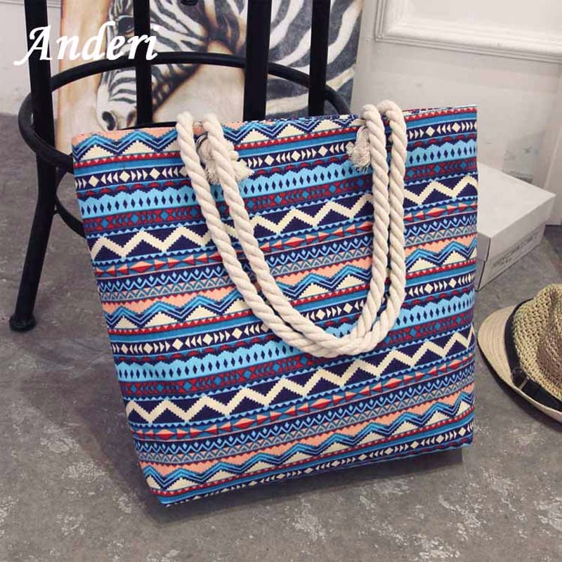 Anderi New Summer Women Canvas bohemian style strip Shoulder Beach Bag Female Casual Tote Shopping Big Bag floral Messenger BagsAnderi New Summer Women Canvas bohemian style strip Shoulder Beach Bag Female Casual Tote Shopping Big Bag floral Messenger Bags