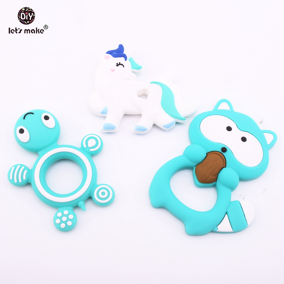 Lets Make 3PCS PBA Free Silicone Tortoise Unicorn Raccoon Natural Eco-friendly Silicone Teether Nursing Necklace DIY Teethers