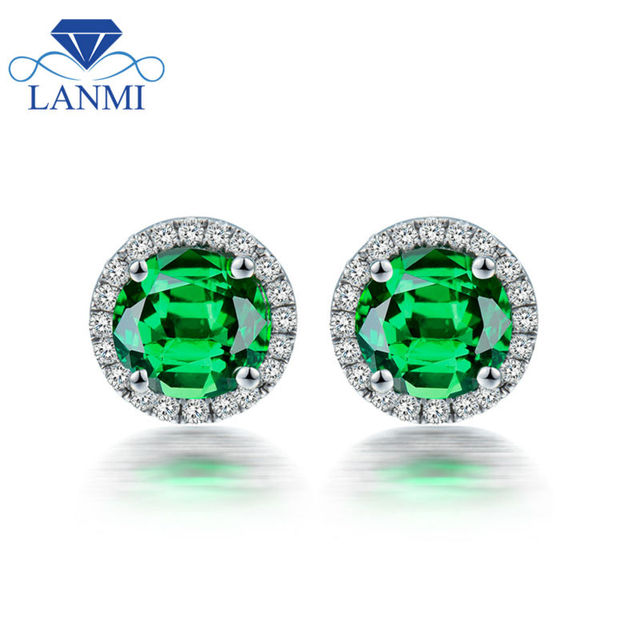 Natural Stud Earrings Gemstone 5mm Round Tsavorite Diamond Earring In 18k White Gold For Party