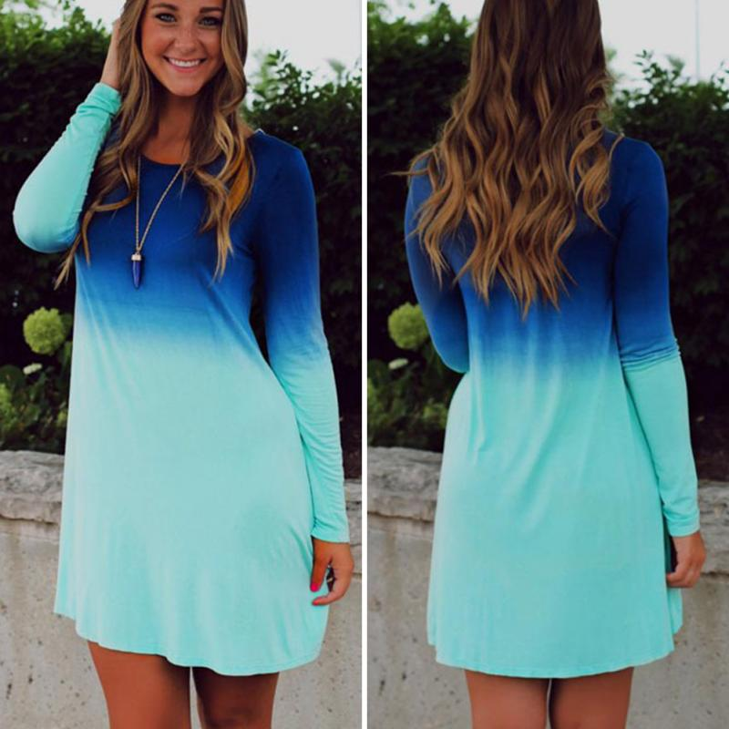 2018 Newest Design Sea Blue Ocean Autumn Dress Women S Long Sleeve Tiered Cute Grant Color Sequin Short Loose In Dresses From Clothing