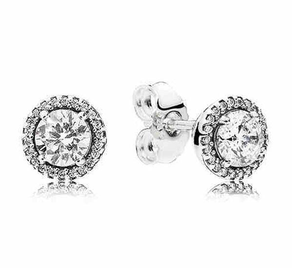 925 Sterling Silver Pandora Earring Classic Elegance With Clear Crystal Stud Earrings For Women Wedding Gift Fine Jewelry925 Sterling Silver Pandora Earring Classic Elegance With Clear Crystal Stud Earrings For Women Wedding Gift Fine Jewelry