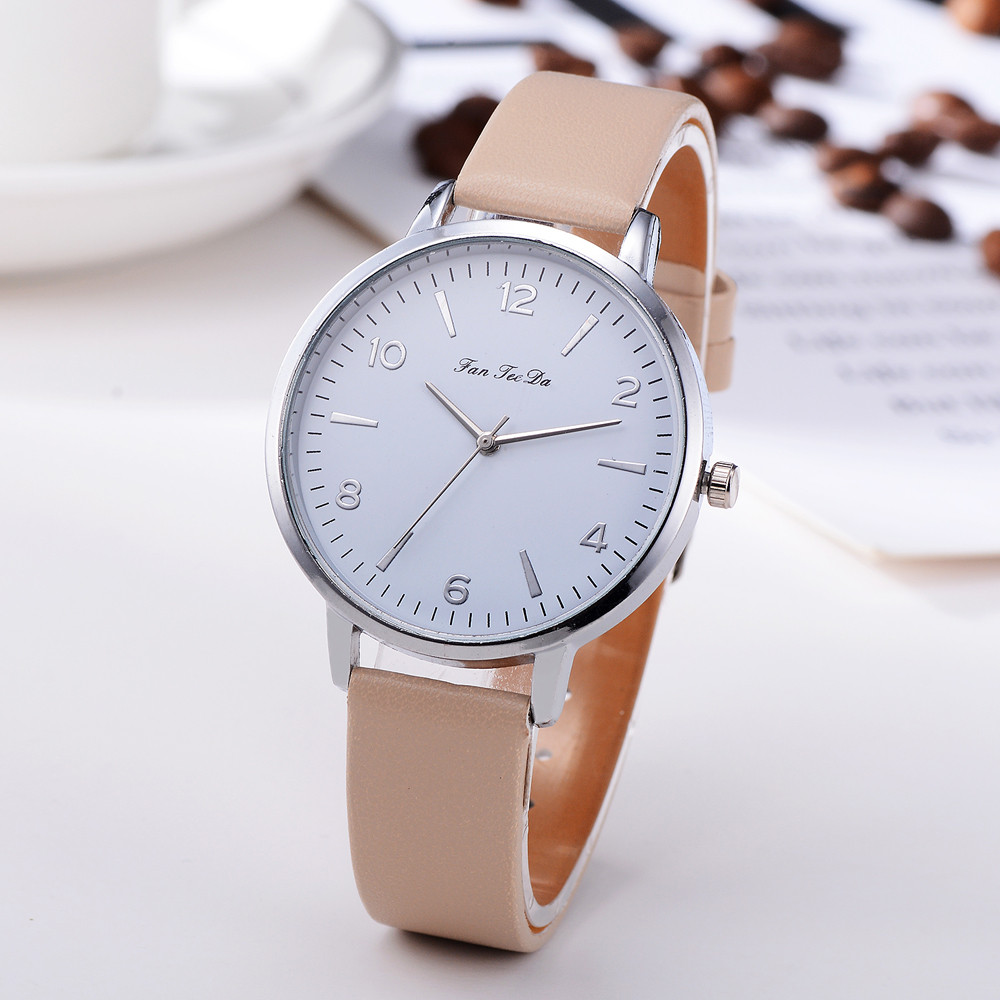 Business Women's Watches Silver Roman Numerals Dial Ladies Simple Quartz Wristwatch Casual Leather Strap Clock Reloj Mujer @50