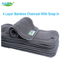 AnAnBaby Baby Changing Pads Reusable 4 Layer Bamboo Charcoal Diaper Insert With Snap In Nappy Changing