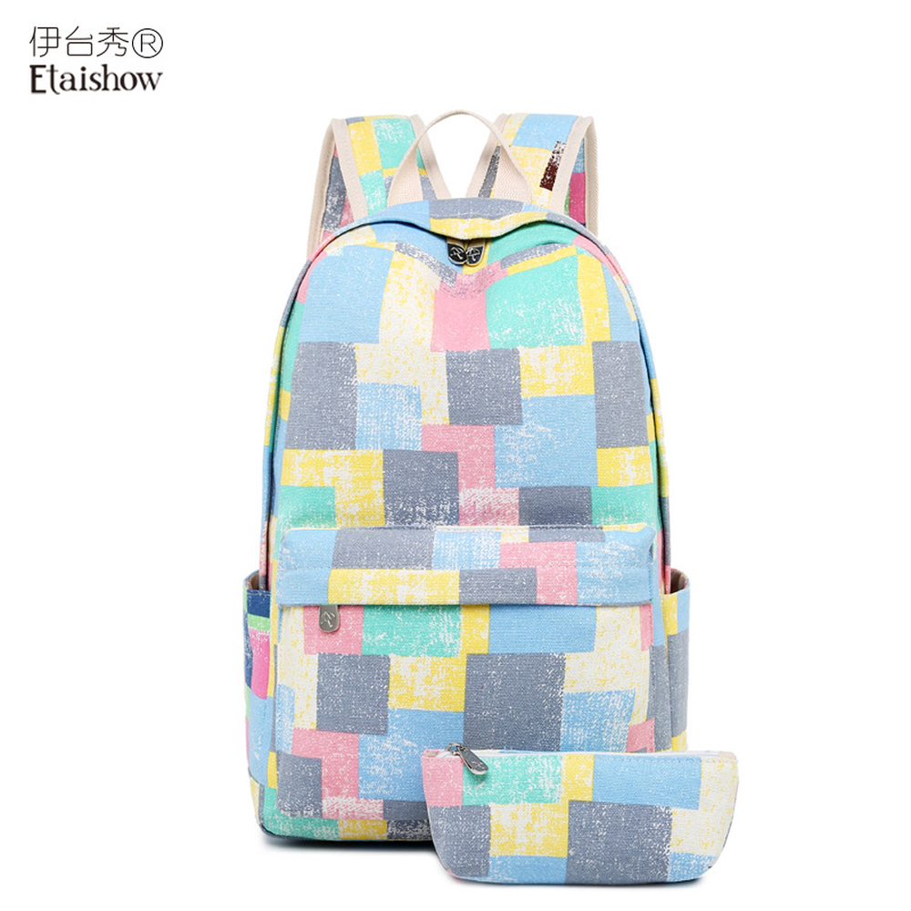 Canvas backpack retro old color contrast printing female middle school students Korean version of the fresh bag