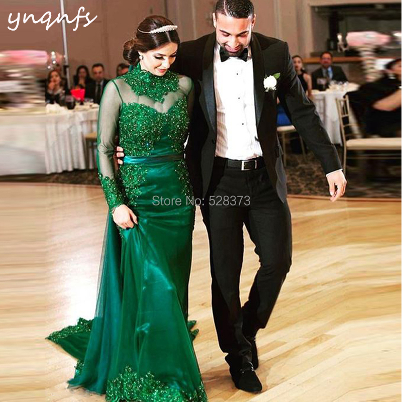 YNQNFS ED262 Green Gown Vestidos Robe de Soiree High Neck Long Sleeve Pearls Crystal   Bridesmaid     Dresses   Party Formal Abiye 2019