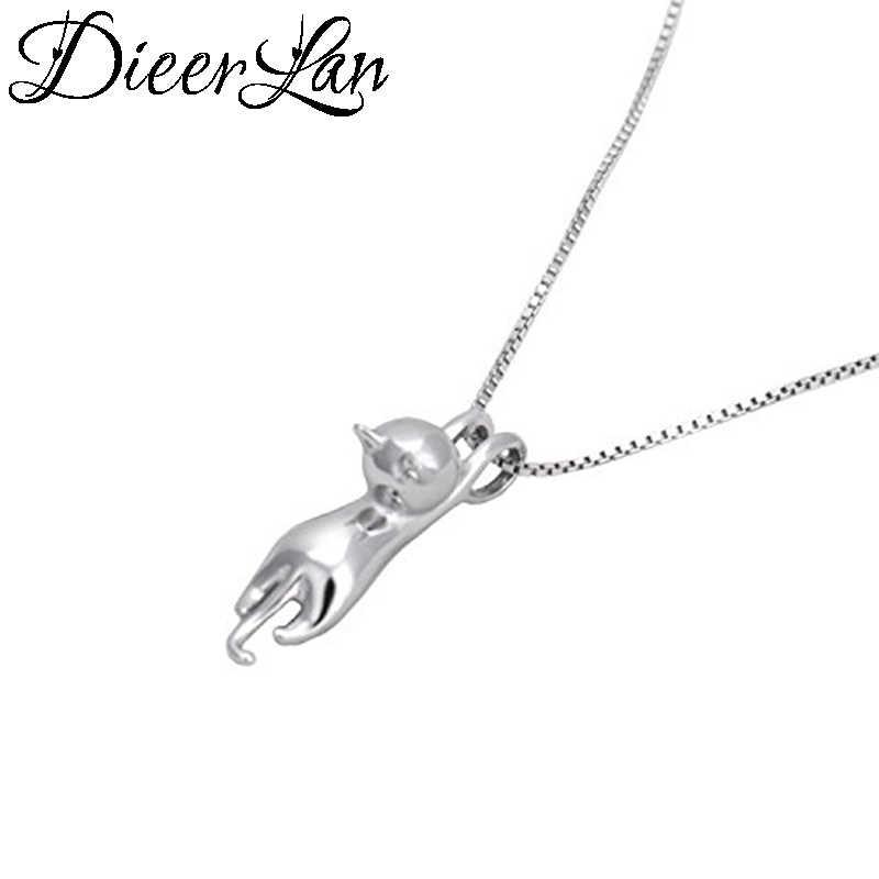 Dieerlan casamento conjuntos de jóias para mulheres 925 prata esterlina bonito gato brincos longo corrente colares pingente presentes festa