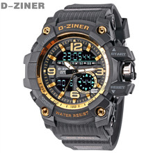 D-ZINER Famous Top Brand Luxury LED Digital Watch Men Sport Wrist Watches Military Electronic Digital-Watch Relogio Masculino