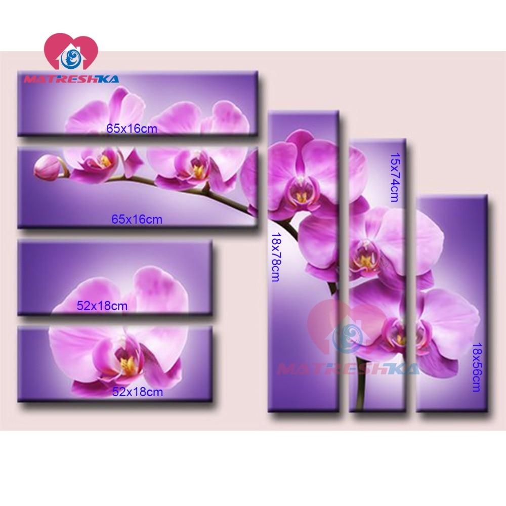 Pittura diamante orchidee diamante ricamo trittico dipinti da cristalli di diamante mosaico di immagini allestimenti needlework-in Punto croce Diamond Painting da Casa e giardino su  Gruppo 2